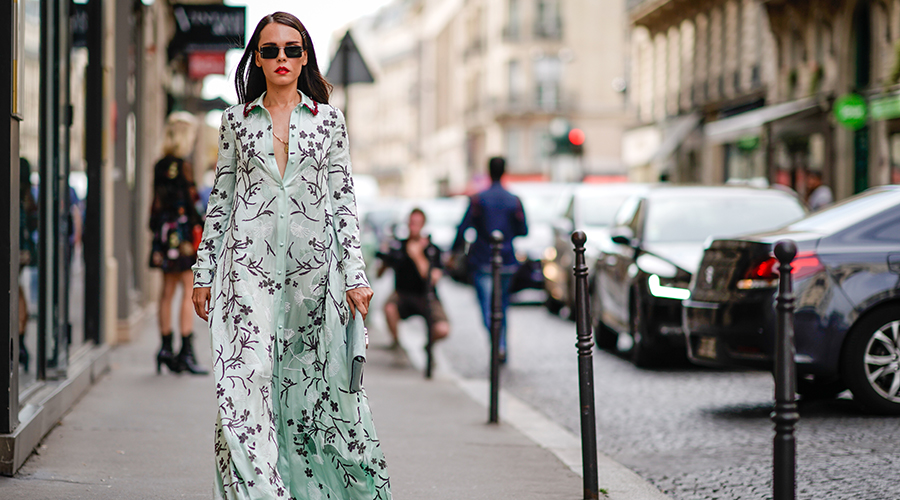 PARIS, FRANCE - JULY 05: Evangelie Smyrniotaki wears a green flower print dress, outside the Valentino show, during Paris Fashion Week - Haute Couture Fall/Winter 2017-2018, on July 5, 2017 in Paris, France. (Photo by Edward Berthelot/Getty Images)