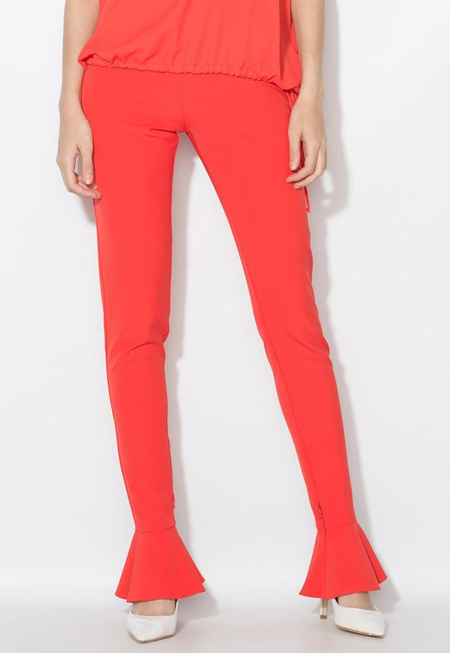 Pantaloni rosu aprins cu terminatii cu volane Zee Lane Collection (ZL0033-RED)