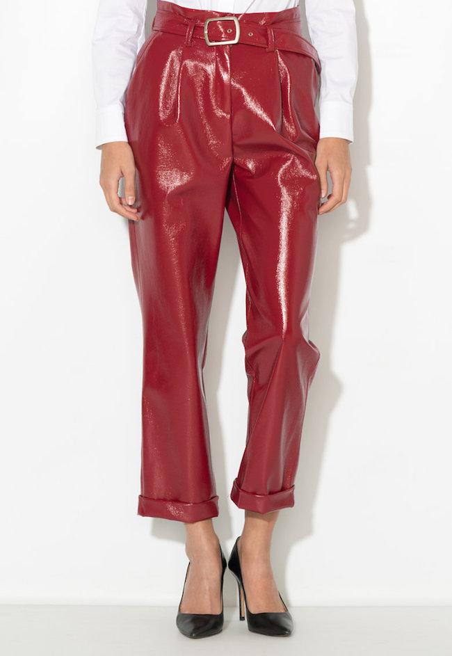 Pantaloni cu aspect peliculizat si curea de piele sintetica Zee Lane Collection (ZLC18F-1062-RED)