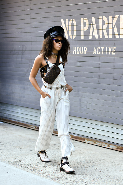 NEW YORK, NY - JULY 10: Rachel McGee is seen during July 2018 Men's Fashion week wearing a Forever 21 jump suite and Coach Boots outside of Industria Studios on July 10, 2018 in New York City. (Photo by Jared Siskin/Getty Images)